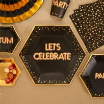 Glitz & Glamour Black & Gold Let's Celebrate Large Plates (8)